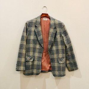 Oversized wool boyfriend plaid blazer Sz L